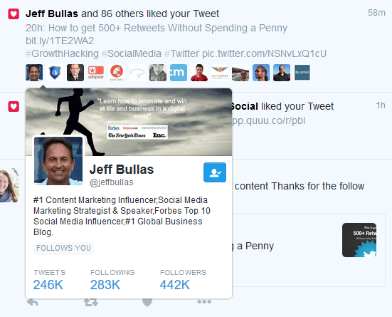 Jeff Bullas liked my Tweet