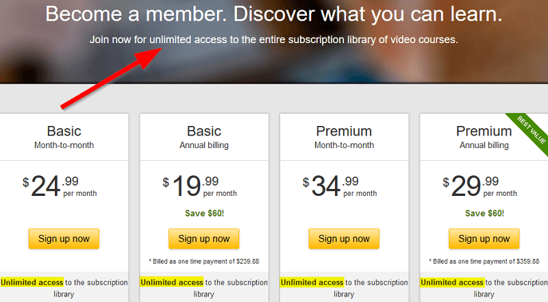 Lynda uses unlimited on their pricing landing page too