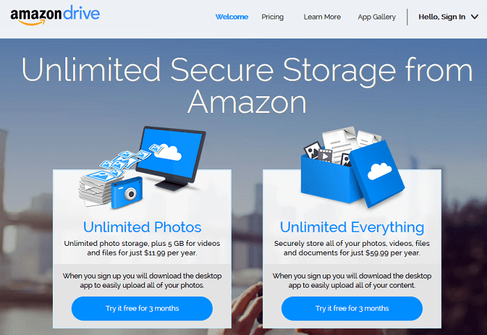 amazon drive uses unlimited which is a power marketing word