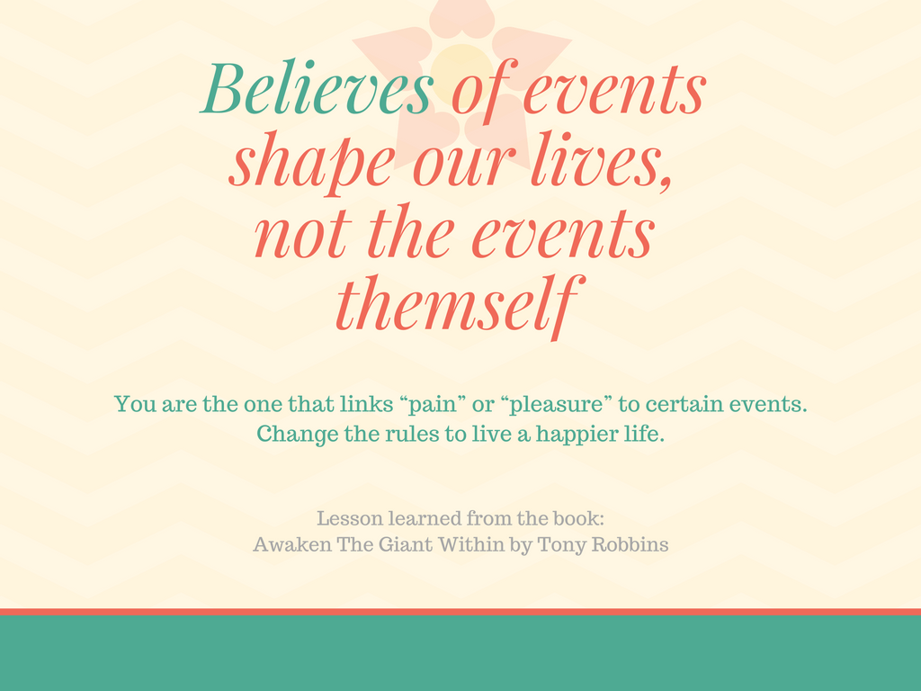 Believes of events shape our lives, not the events themself
