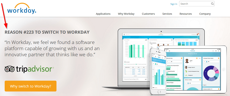 tripadvisor uses workday the reason to use their service